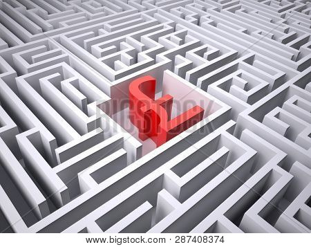 Red Sterling Symbol In The Centre Of Labyrinth, 3d Illustration
