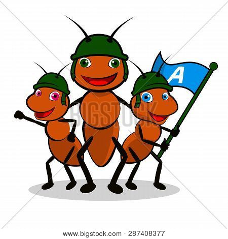 Vector Illustration Of Group Of Brown Ants Cartoon