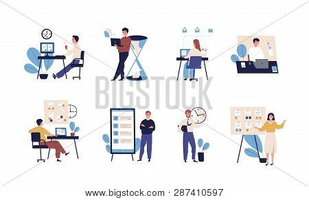 Collection Of People Successfully Organizing Their Tasks And Appointments. Set Of Scenes With Effici