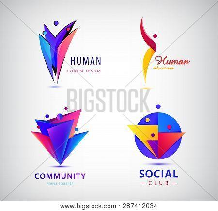 Vector Set Of Human, Man, People Group Logos. Teamwork, Family, Leader 3d Origami