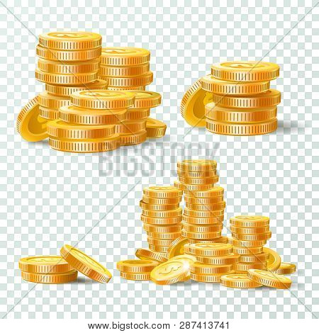 Stack Of Gold Coins. Golden Coin Pile, Money Stacks And Golds Piles Isolated Vector Set