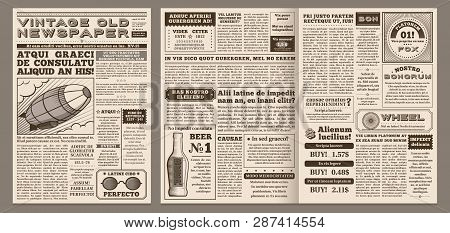 Vintage Newspaper Template. Retro Newspapers Page, Old News Headline And Journal Pages Grid Vector I