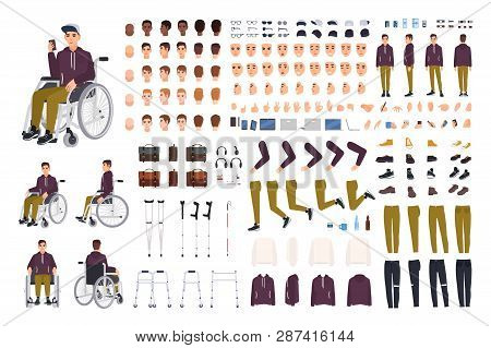 Teenage Boy With Physical Disability Creation Set Or Constructor Kit. Collection Of Disabled Man Bod