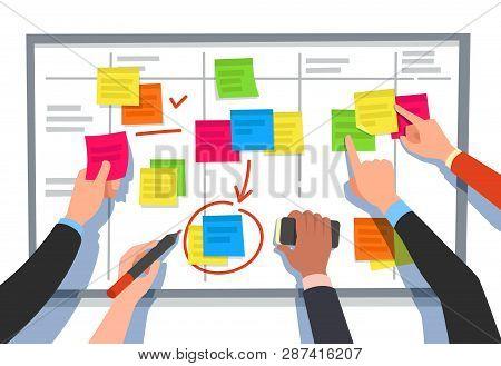 Scrum Board. Task List, Planning Team Tasks And Collaboration Plan Flowchart. Business Workflow Sche
