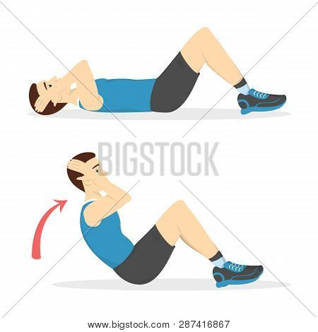 Man Doing Crunches In The Gym. Belly Burn