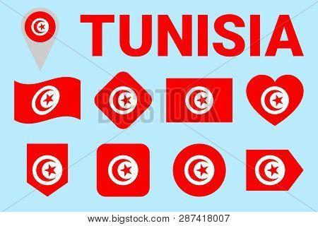 Tunisia Flag Vector Set. Tunisian Natioanl Symbols Collection. Geometric Shapes. Flat Style. Sports,