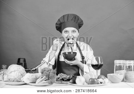 Healthy Raw Food. Dieting Concept. Eat Healthy. Healthy Ration. Girl Wear Hat And Apron Try Mushroom
