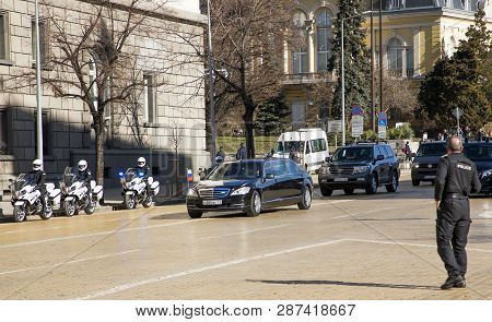 Sofia, Bulgaria - March 04, 2019: Car Of Russian President Dmitry Medvedev.  Russian Prime Minister