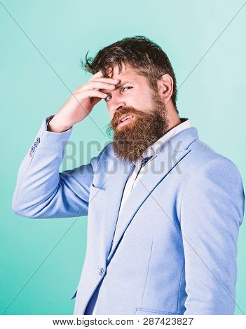 Need To Think. Man Disgusted Doubtful Face Thinking. Have Some Doubts. Hipster Bearded Face Not Sure