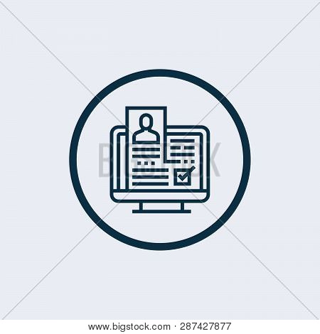 Grey Laptop With Resume Icon Isolated On White Background. Cv Application. Searching Professional St
