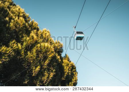 View Of The Cableway Funicular Cabin Passing By In Front Of A Clear Sky And With A Conifer Tree Crow