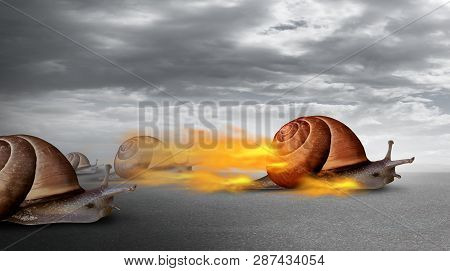 Success Competition And Competitive Advantage Over Other Business Competitors As A Powerful Snail Wi