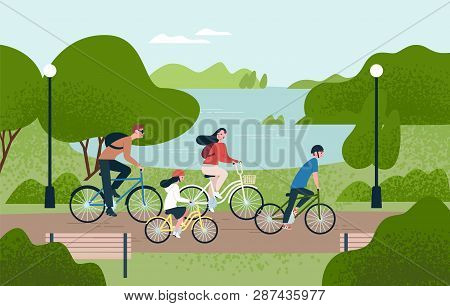 Cute Family Riding Bicycles. Mom, Dad And Children On Bikes At Park. Parents And Kids Cycling Togeth