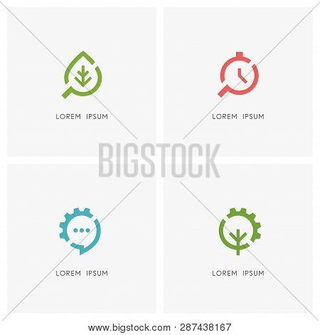 Search And Gear Wheel Logo Set. Green Leaf, Clock And Loupe Or Magnifier, Chat Or Message, Tree And