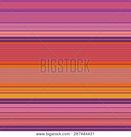 Vibrant Purple, Pink And Orange Densely Striped Design. Seamless Vector Pattern With Bright Beach Vi