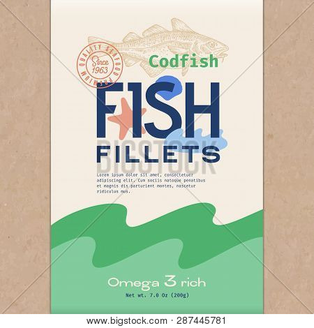 Fish Fillets. Abstract Vector Fish Packaging Design Or Label. Modern Typography, Hand Drawn Codfish