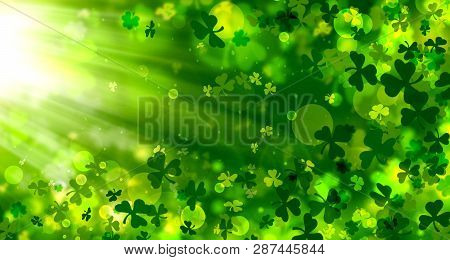 Green Background For St. Patrick's Day, Spring Background, Bright, Bokeh, Shamrock, Rays, Light Effe