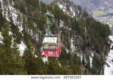 Gondola In The Bavarian Alps, Germany, Wintertime