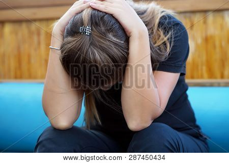 Grief And Domestic Violence Concept. Close-up Of Unhappy Crying Woman Covering Her Face Useful To Il