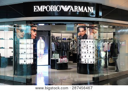 Munich, Germany - April 1, 2014: Emporio Armani Store At Munich International Airport In Germany. Gi