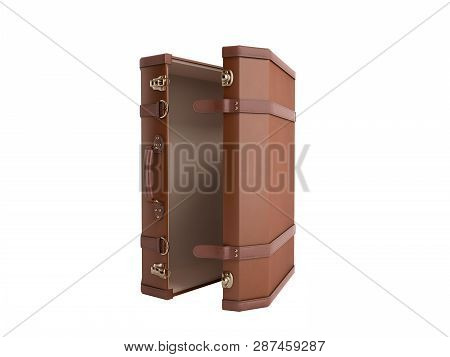 Open Vintage Suitcase 3d Render On White Background No Shadow