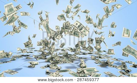 Hundred Dollar Banknotes Fall On Graund On Blue Background