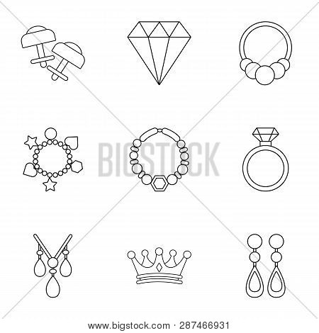 Shackle icons set. Outline set of 9 shackle icons for web isolated on white background poster