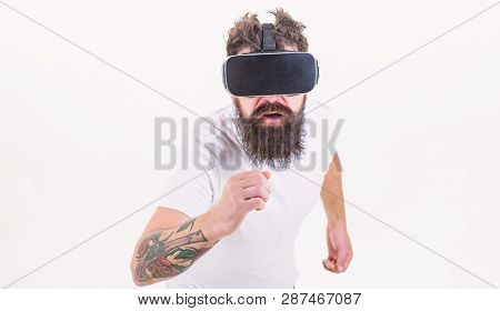 Man Bearded Gamer Vr Glasses White Background. Virtual Reality Game Concept. Cyber Sport. Guy With H