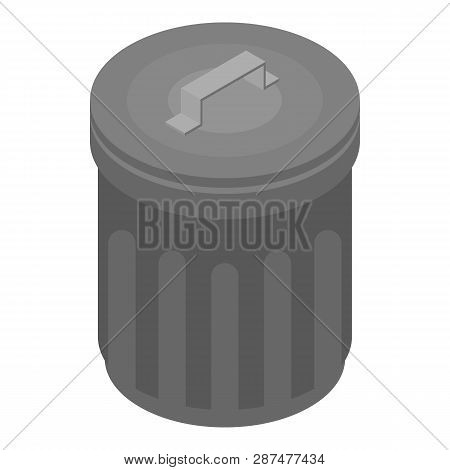 Metal Garbage Bin Icon. Isometric Of Metal Garbage Bin Icon For Web Design Isolated On White Backgro