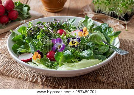 Salad With Edible Pansies And Fresh Broccoli And Kale Microgreens
