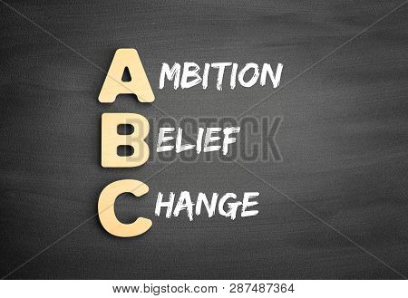 Wooden Alphabets Building The Word Abc - Ambition Belief Change Acronym On Blackboard
