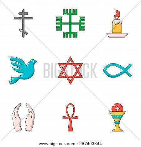 Faith Icons Set. Flat Set Of 9 Faith Icons For Web Isolated On White Background
