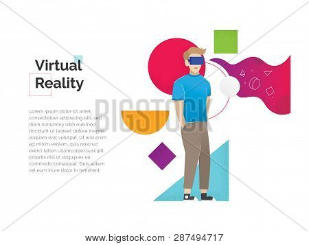 Virtual Reality Illustration. Augmented Reality Concept Banner With Character. Man Wearing Virtual R