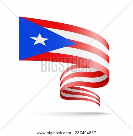 Puerto Rico Flag In The Form Of Wave Ribbon.