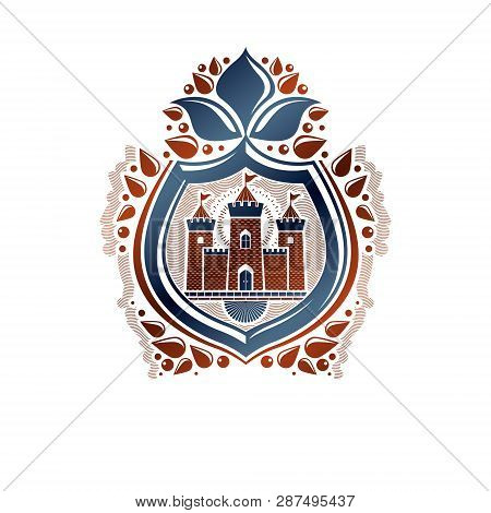 Heraldic Coat Of Arms Decorative Emblem With Medieval Stronghold And Lily Flower, Isolated Vector Il