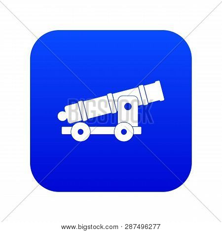Cannon icon digital blue for any design isolated on white illustration poster