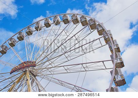 Mainz, Germany - March 03, 2019: Ferris Wheel: Grand Soleil On The Market Place In Mainz During Carn