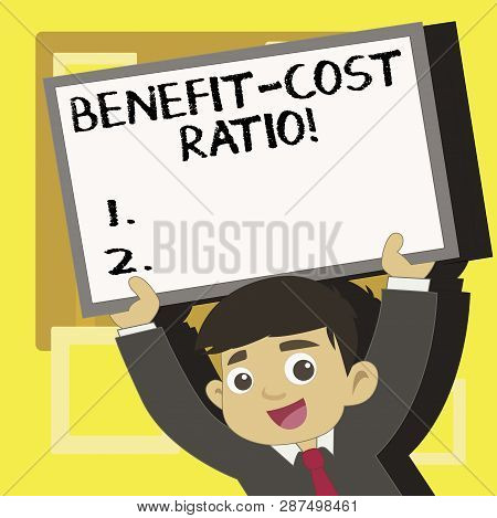 Handwriting Text Writing Benefit Cost Ratio. Concept Meaning Relationship Between The Costs And Bene