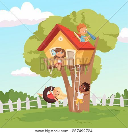 House On Tree. Cute Children Playing In Garden Nature Climbing Vector Kids Background. Illustration