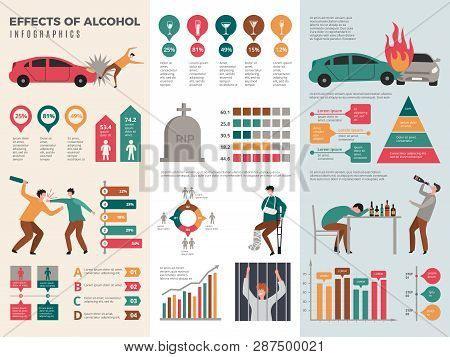 Alcoholism Infographics. Dangerous Drunk Driver Alcoholic Health Vector Template With Graphics And C