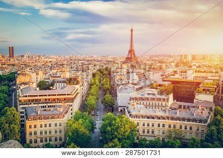 Cityscape of Paris at sunset. French capital city. Popular european destination.