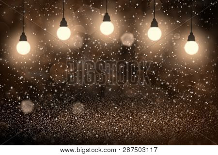 Orange Pretty Shiny Abstract Background Light Bulbs With Sparks Fly Defocused Bokeh - Festal Mockup