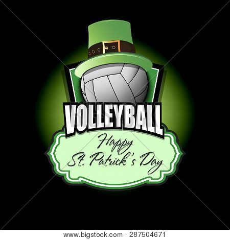 Happy St. Patricks Day. Volleyball Logo Template Design. Volleyball Ball With St. Patrick Hat. Patte