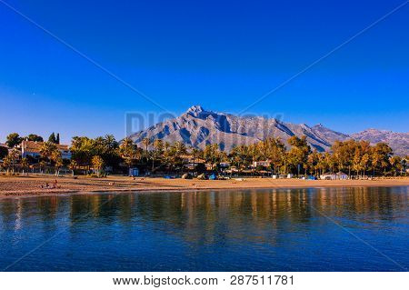 Beach. View Of The Evening Beach Of Marbella. Costa Del Sol, Andalusia, Spain. Picture Taken - 3 Mar