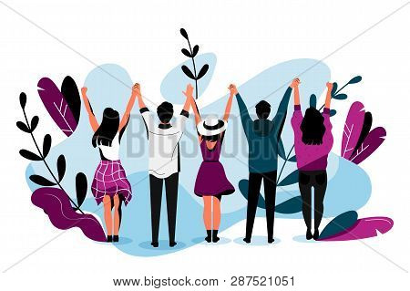 Friendship Vector Flat Illustration. Happy Friends Hugging Together. Young People Have A Fun Event T