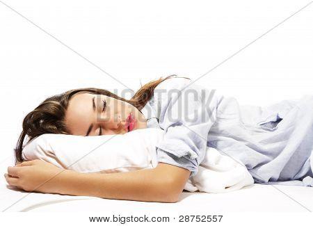 beautiful sleeping woman in pajamas