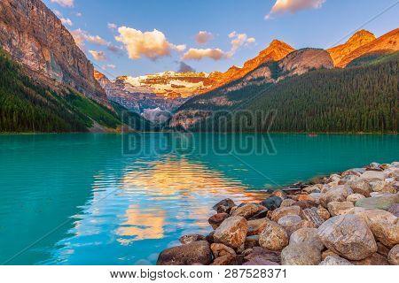 Lake Louise At Sunset.banff National Park. Alberta. Canada