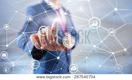 Ict - Information And Telecommunication Technology And Iot - Internet Of Things Concepts. Diagrams W