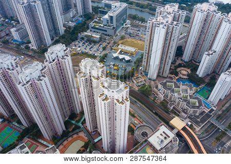 Tin Shui Wai, Hong Kong, 02 February 2019: Top view of Hong Kong residential district city