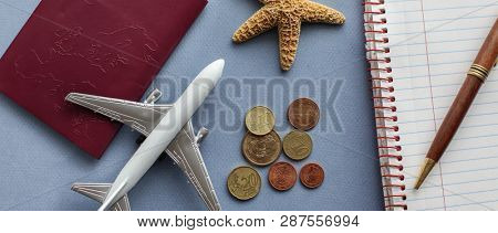 Travel background concept with airplane and other objects